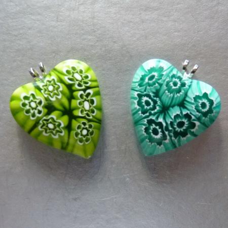 Кулон муранское (венецианское) стекло Сердце.  В подарок шнурок для кулонов и подвесок, 4 нити.